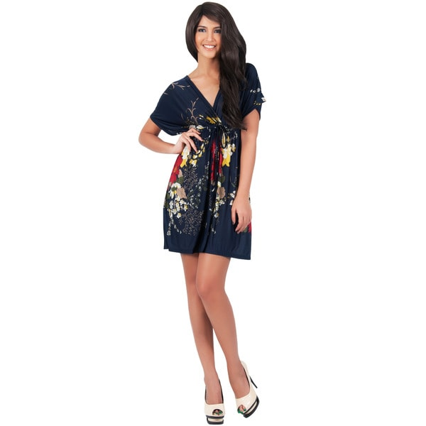 KOH KOH Women's Floral Printed Cover Up Kaftan Caftan Kimono Sleeve Mini Dress