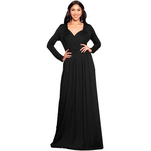 KOH KOH Women's Long Sleeve Empire Waist Dress