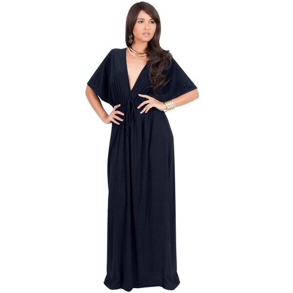 d19b9a65dd Shop KOH KOH Long V-Neck Kimono Sleeve Casual Sexy Summer Maxi Dress ...