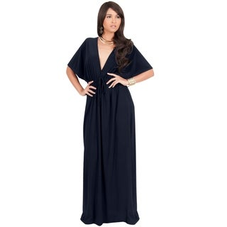 KOH KOH Womens V-Neck Kimono Sleeve Evening Cocktail Long Maxi Dress