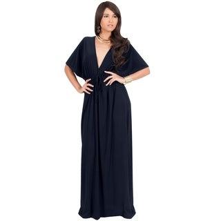 KOH KOH Womens V-Neck Kimono Sleeve Evening Cocktail Long Maxi Dress (More options available)