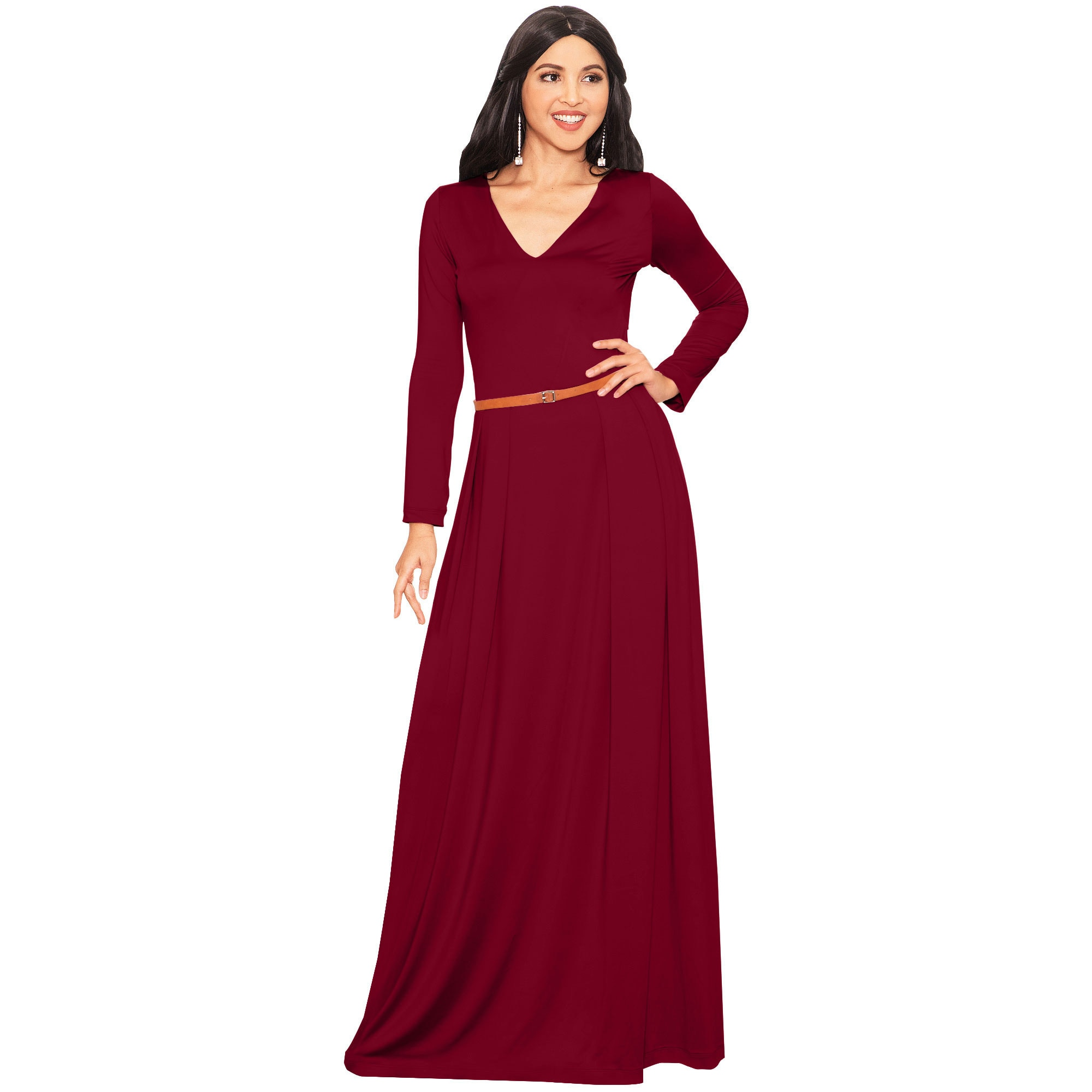 79a8648320e817 KOH KOH Long Sleeve Elegant Evening Flowy Dressy Fall Maxi Dress ...