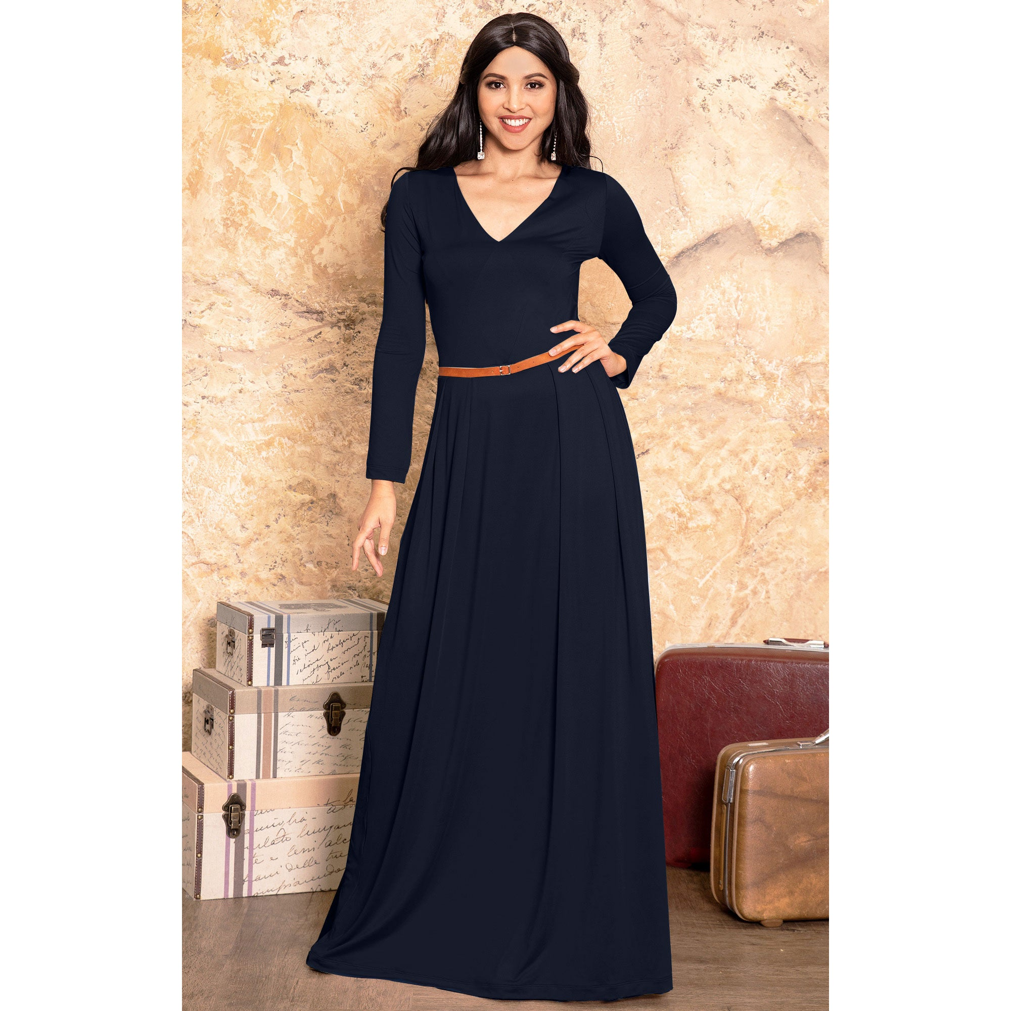 aea7839aaaa6 KOH KOH Long Sleeve Elegant Evening Flowy Dressy Fall Maxi Dress ...