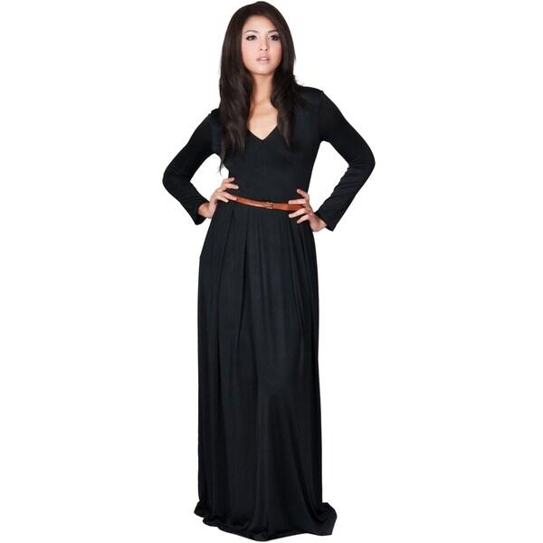 Womens V-Neck Long Sleeve Elegant Cockatil Evening Formal Maxi Dress Koh Koh im1wLVhuj3