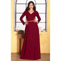 KOH KOH Womens V-Neck Long Sleeve Elegant Evening Formal Maxi Dress