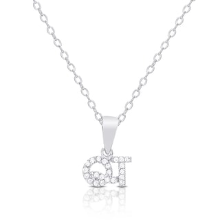 """Dolce Giavonna Sterling Silver Cubic Zirconia """"QT"""" (Cutie) Necklace"""