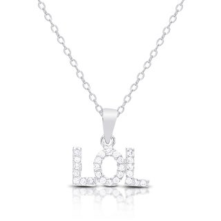 """Dolce Giavonna Sterling Silver Cubic Zirconia """"LOL"""" Necklace"""