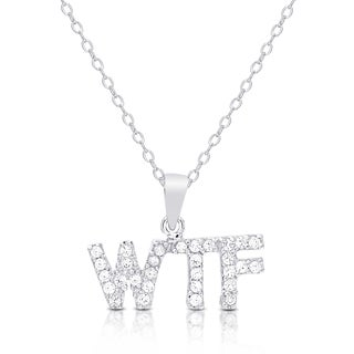 """Dolce Giavonna Sterling Silver Cubic Zirconia """"WTF"""" Necklace"""