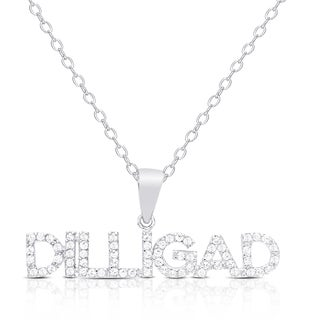 """Dolce Giavonna Sterling Silver Cubic Zirconia """"DILLIGAD"""" (Do I Look Like I Give a Darn) Necklace"""