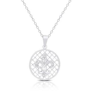 Samantha Stone Sterling Silver Cubic Zirconia Fleur De Lis Necklace