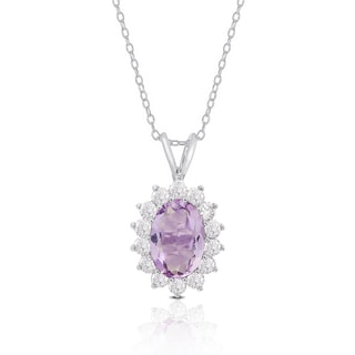 Dolce Giavonna Sterling Silver Gemstone and Cubic Zirconia Oval Necklace