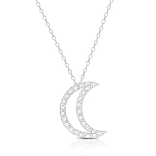 Dolce Giavonna Sterling Silver Cubic Zirconia Moon Necklace