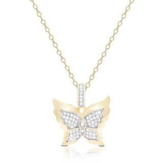 Samantha Stone Gold Over Sterling Silver Cubic Zirconia Butterfly Necklace