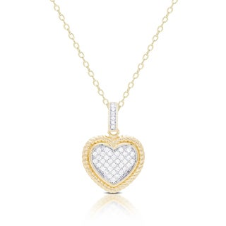 Samantha Stone Gold Over Sterling Silver Cubic Zirconia Heart Necklace