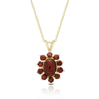 Dolce Giavonna Gold Over Sterling Silver Garnet Flower Design Necklace