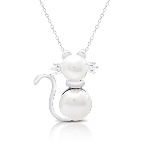 Dolce Giavonna Sterling Silver Pearl Cat Necklace
