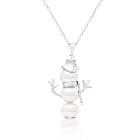 Dolce Giavonna Sterling Silver Pearl Snowman Necklace