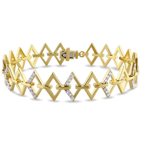 Miadora White Sapphire Ladder Bracelet in Yellow Plated Sterling Silver