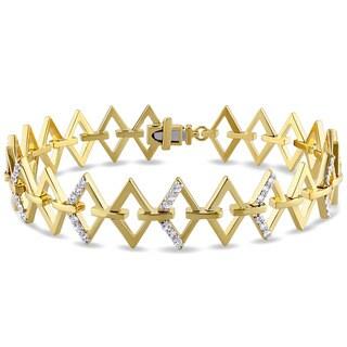 V1969 Italia White Sapphire Logo Ladder Bracelet in Yellow Gold Plated Sterling Silver