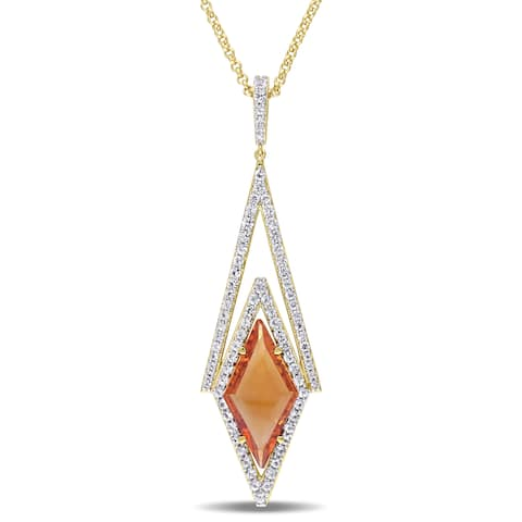 Miadora Citrine and White Sapphire Prism Necklace in Yellow Plated Sterling Silver