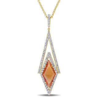 V1969 ITALIA Citrine and White Sapphire Prism Necklace in 18k Yellow Gold Plated Sterling Silver