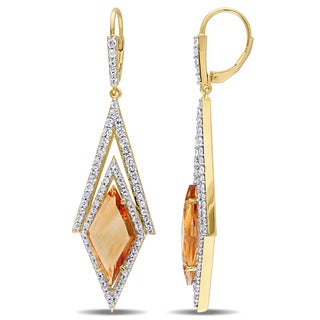 V1969 ITALIA Citrine and White Sapphire Prism Drop Earrings in 18k Yellow Gold Plated Sterling Silver