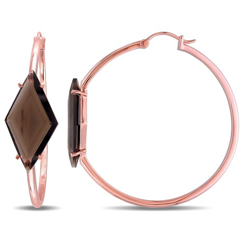 V1969 Italia Smokey Quartz Prism Hoop Earrings in Rose Gold Plated Sterling Silver
