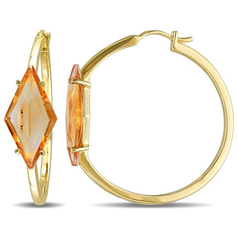 V1969 Italia Citrine Prism Hoop Earrings in Yellow Gold Plated Sterling Silver