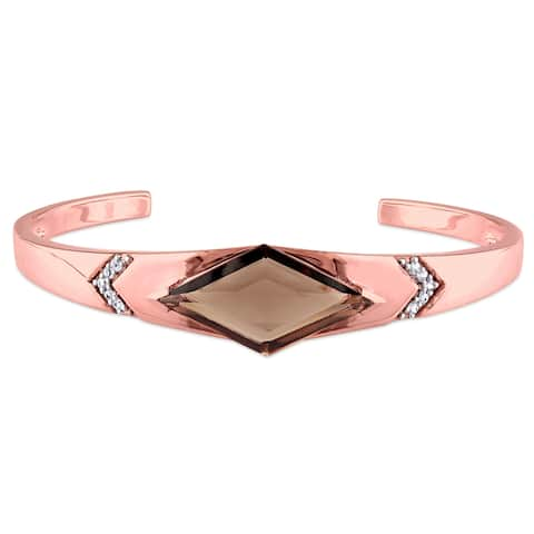 Miadora Smokey Quartz and White Sapphire Prism Bangle Bracelet in Rose Plated Sterling - Brown