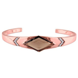 V1969 ITALIA Smokey Quartz and White Sapphire Prism Bangle Bracelet in 18k Rose Gold Plated Sterling Silver