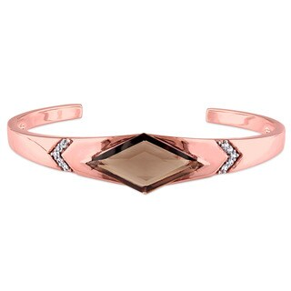 V1969 Italia Smokey Quartz and White Sapphire Prism Bangle Bracelet in Rose Gold Plated Sterling