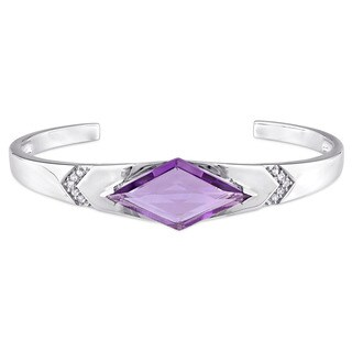 V1969 ITALIA Amethyst and White Sapphire Prism Bangle Bracelet in Sterling Silver