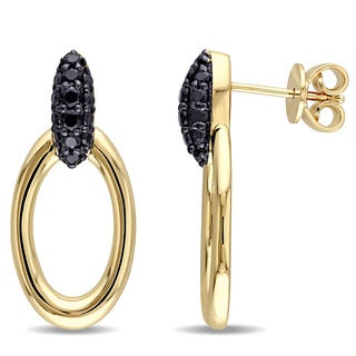 V1969 ITALIA Black Sapphire Drop Hoop Earrings in 18k Yellow Gold Plated Sterling Silver