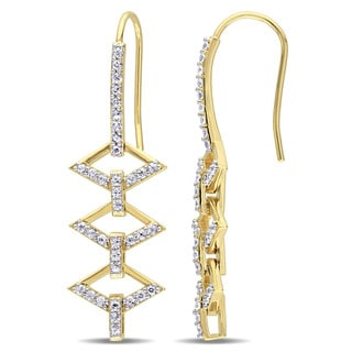 V1969 ITALIA White Sapphire Logo Ladder Drop Earrings in 18k Yellow Gold Plated Sterling Silver