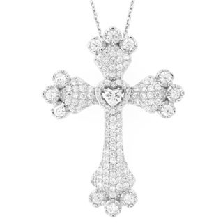 Meredith Leigh Sterling Silver Fancy Cubic Zirconia Cross Pendant