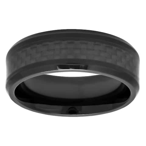 Black Tungsten Carbide and Carbon Fiber Ring