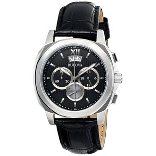 Bulova Men's 96B218 Chronograph Black Leather Watch