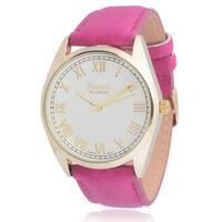 Geneva Platinum Women's Round Face Leather Strap Watch - Pink