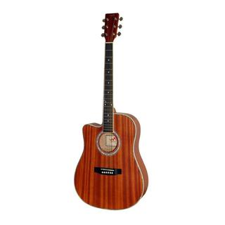 Pyle PGA53LBR 6-String Lefty Acoustic Guitar, Left-Handed Style, Full Scale, Accessory Kit Included