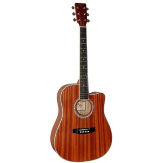 Pyle PGA52RBR 6-String Acoustic Guitar, Full Scale, Accessory Kit Included