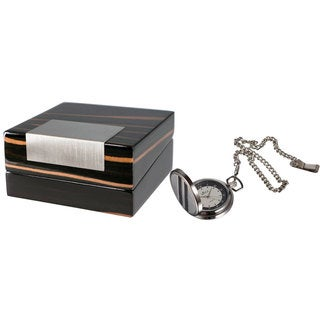 Visol Turbo White Dial Carbon Fiber Pocket Watch with Gift Box