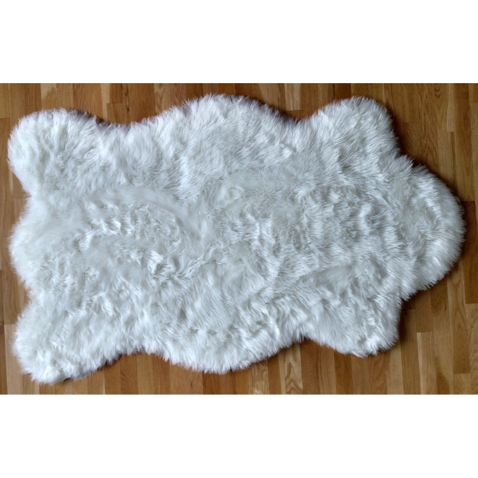 free form rug  Faux Fur Sheepskin Shag Area Rug White Pelt Free Form - 8