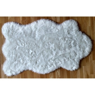 Faux Fur Sheepskin Shag Area Rug White Pelt Free Form (4'x6')