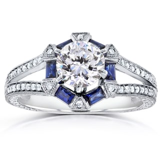 Annello by Kobelli 14k Gold Forever One Moissanite Baguette Sapphire and 1/4ct TDW Diamond Art Deco Style Engagement Ring