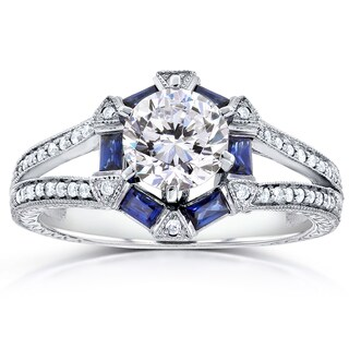 Annello by Kobelli 14k White Gold 1 3/5ct TGW Forever One DEF Moissanite, Baguette Sapphire. and Diamond Art Deco Ring