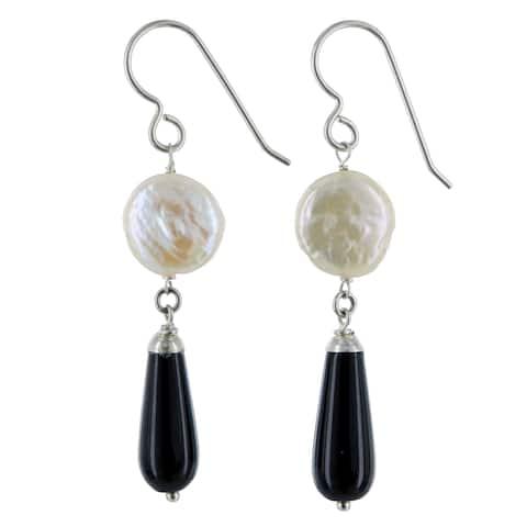 White Coin Pearl, Black Onyx Gemstone Silver Handmade Earrings