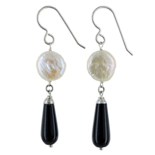 Ashanti Gray Freshwater Pearl and Pink Agate Gemstone Sterling Silver Handmade Earrings