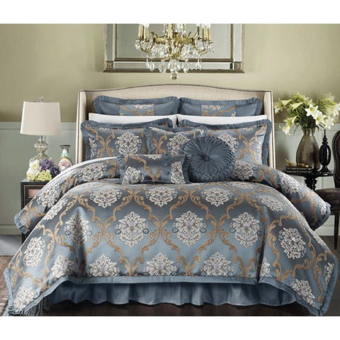 Chic Home Antonio Jacquard Scroll Blue 13-piece Bed in a Bag with Sheet Set