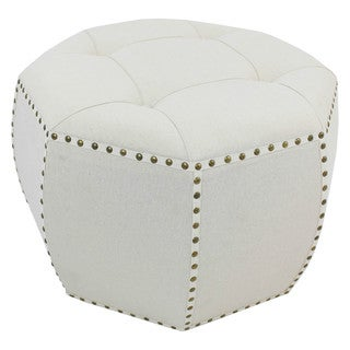 International Caravan Rustic Elegance 27-inch Natural Octagonal Button Tufted Ottoman