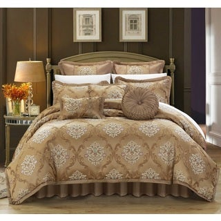 Chic Home Antonio Jacquard Scroll Gold 13-piece Bed in a Bag with Sheet Set